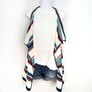 Sweaters - Sleeveless striped knit duster